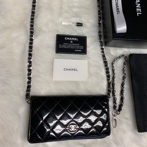 CHANEL Matrasse Quilted CC Long Wallet on Chain